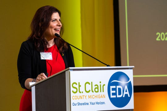Amanda Bright McClanahan, chief operating officer of the MEDC, talks at the EDA's annual luncheon Tuesday, Feb. 11, 2020, in the ballroom at CityFlats.