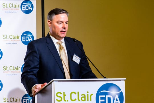 Dan Casey, CEO of St. Clair County EDA, talks at the EDA's annual luncheon Tuesday, Feb. 11, 2020, in the ballroom at CityFlats.