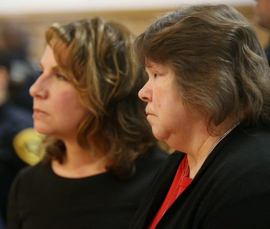 Gail Grover reads a statement to Judge Edward McLoughlin on February 11, 2020. Nicole Addimando was found guilty of killing Gail's son, Christopher Grover in April 2019.