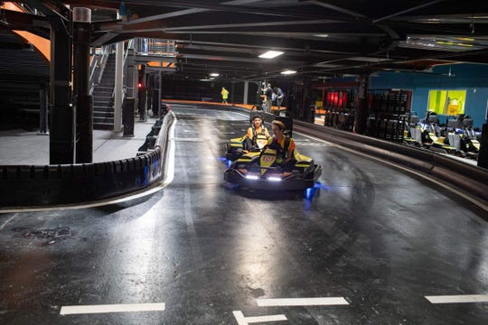Urban Air Adventure Park employees test out the go-karts at the new 60,000-square-foot recreation facility that opened Feb. 8 at the Galleria at Crystal Run Mall in the Town of Wallkill.