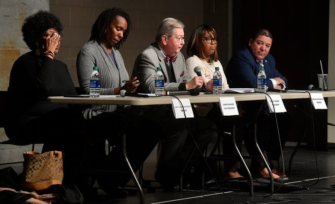 York City Council holds a town hall meeting at Logos Academy to hear the public's opinion on residency requirements for city employees, Monday, February 10, 2020