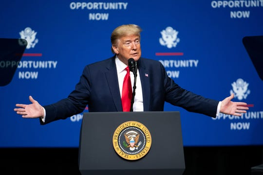 U.S. President Donald Trump addresses the crowd during the Opportunity Now summit at Central Piedmont Community College on Feb. 7, 2020 in Charlotte, N.C. The event brought together White House and administration officials, state and local elected leaders, and private and community partners for a half-day summit addressing inmate re-entry, low-income area economic development, infrastructure, and the future of historically black colleges and universities. (Sean Rayford/Getty Images/TNS)