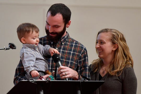 Clifton Kern, public access coordinator for White Rose Community TV, his wife Bethany and son Oaklen, tell York City Council how the current residency requirements effecting their family as it grows, Monday, February 10, 2020John A. Pavoncello photo