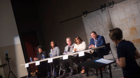 City Council members listen to resident and city employee concerns on the residency requirements during a town hall meeting at Logos Academy on Monday, Feb. 10, 2020.