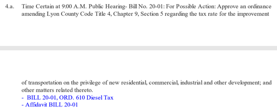 A screen shot of the typo on the county commissioner's agenda packet that mislabeled a commercial tax increase as a diesel tax.