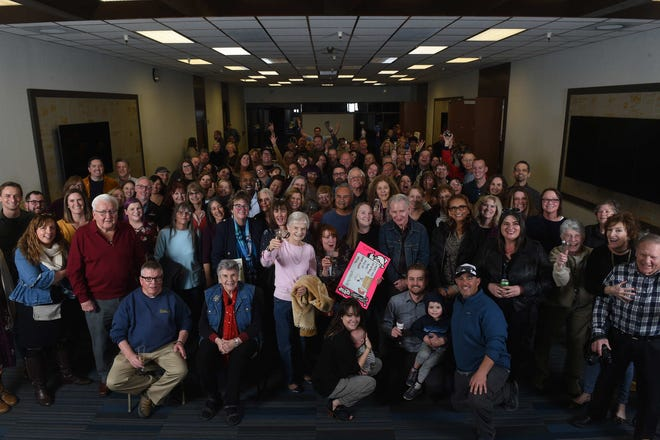 Current and past RGJ employees gather for the goodbye to the RGJ building party on Feb. 8, 2020.