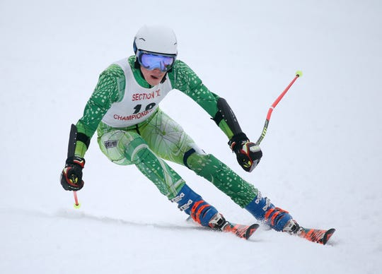 Brighton's Ben Comeau competes in the Section V Giant Slalom race at Bristol Mountain.