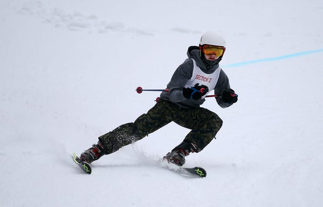 Hornell's Mason Terwilliger competes in the Section V Giant Slalom race at Bristol Mountain during a past season. Mary Franklin has been approved as Hornell's skiing head coach for the 2020-21 campaign.