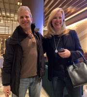 Brighton native and New York City resident Jonathan Comisar after getting his lost wallet back from Brighton resident Erika Stanat Feb. 4 in New York City.