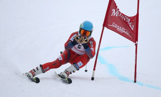 Pittsford's Owen August competes in the Section V Giant Slalom race at Bristol Mountain.