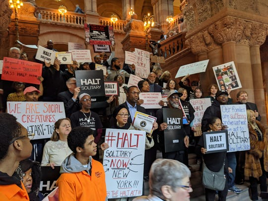 Dozens of advocates gathered in Albany on Tuesday calling on the Legislature to pass a bill that would end the use of solitary confinement in New York.