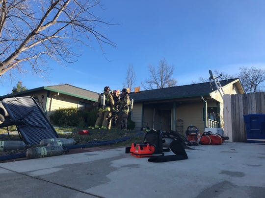 Redding firefighters knocked down a house fire Tuesday, Feb. 11, 2020 on Lacey Lane.