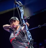 Champion archer Paige Pearce of Red Bluff won both the Indoor World Series final and the Vegas Shoot, both in Las Vegas on Feb. 8 and 9.  Her scores were perfect.
