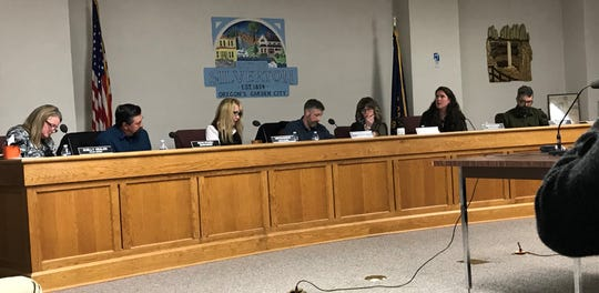 The Silver Falls School Board, from left Shelly Nealon, Ervin Stadeli, Lori McLaughlin, Jonathan Edmonds, Jennifer Traeger, Janet Allanach and Tom Buchholz, decided not to censure its members for violation of board policy Monday, Feb. 11, 2020.