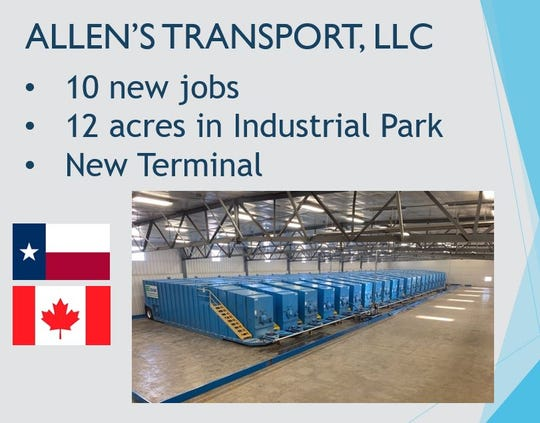 Allen's Transport, LLC, of Leduc, Canada, recently closed on a purchase of 12 acres in the San Angelo Industrial Park.