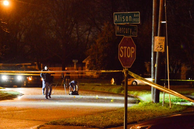 Bossier City police investigate a shooting, that occurred in the 1900 block of Alison Avenue in Bossier City, into the early morning hours of Tuesday, Feb. 11, 2020. The shooting occurred around 10:56 p.m. Monday, Feb. 10, 2020.