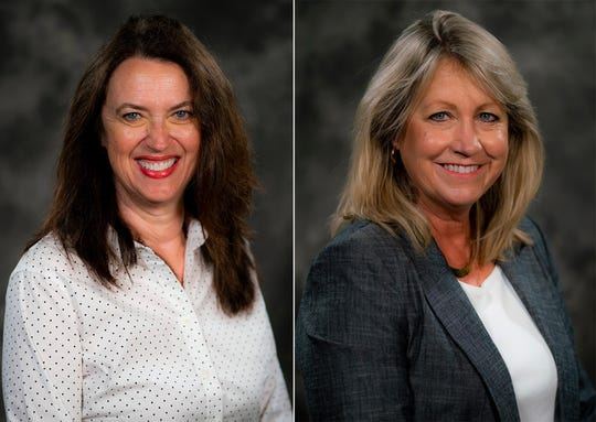 Renberg Elementary Principal Anne Williams (left) and Susan B. Anthony Elementary Principal Marie Rickert will both retire in June. The two have served the district for more than 20 years each.