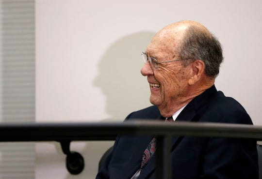 Former Evangel University president Dr. Robert Spence listens to a speech by the Mayor about him during a ceremony and reception where he was presented a key to the city at the Busch Municipal Building on Monday, Feb. 10, 2020.