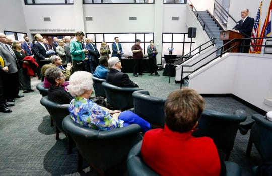 Former Evangel University president Dr. Robert Spence speaks after being presented a key to the city during a ceremony and reception at the Busch Municipal Building on Monday, Feb. 10, 2020.