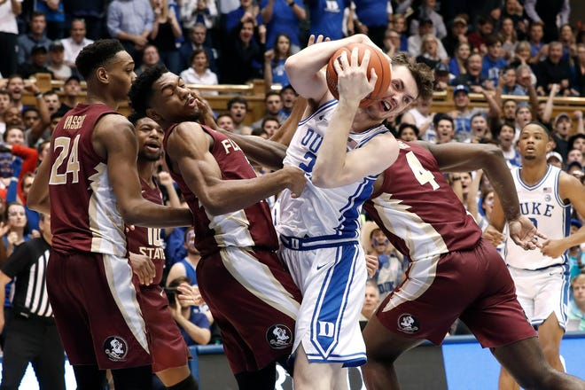 After an inconsistent freshman season with the Blue Devils, Duke sophomore Matthew Hurt (21) is hoping to be more aggressive and competitive this season.