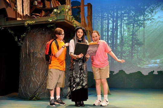 "The Enchantress Morgan LeFay (Maricel Lopez) invites Jack (Lansing Lewis) and his sister, Annie (Ashley Faris) to travel to exciting historical places through the books in her tree house in the Young Actors Theatre production of ""Magic Tree House."""