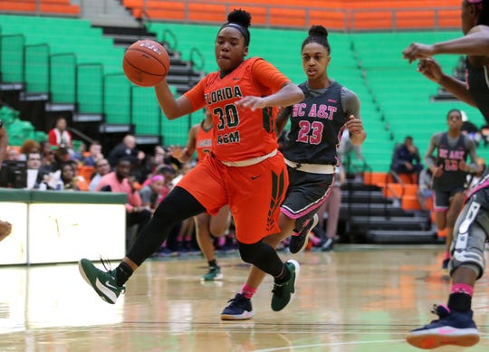 FAMU guard/forward Jasmine Ballew drives to the hoop versus North Carolina A&T on Monday, Feb. 10, 2020.