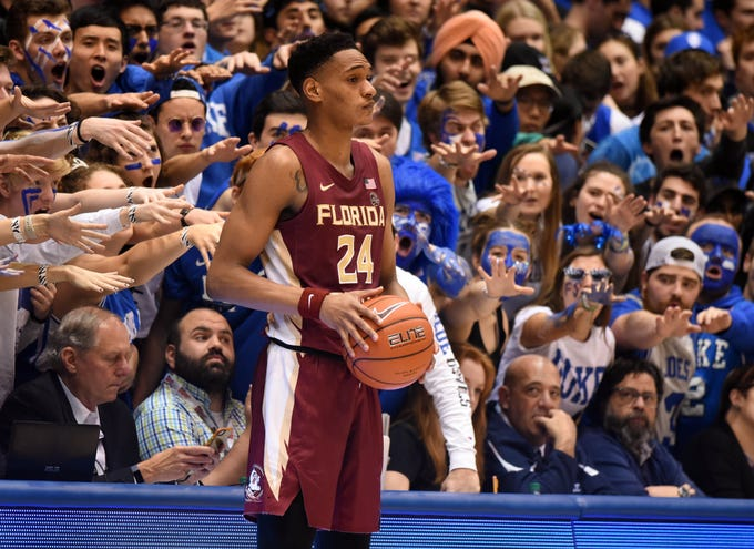 Feb 10, 2020; Durham, North Carolina, USA; Duke Blue Devils fans harass Florida State Seminoles guard Devin Vassell (24) as he attempts to inbound the ball during the second half at Cameron Indoor Stadium.  Duke won 70-65. Mandatory Credit: Rob Kinnan-USA TODAY Sports