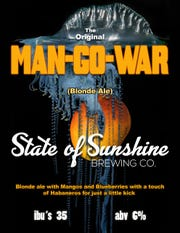 "Man-Go-War is a blueberry-flavored ale with spicy mango that won a contest on cable's ""Beerland"" in 2018."