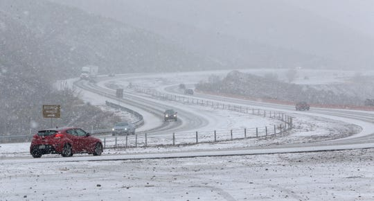 Frozen rain turned to snow, bringing traffic on Trans Mountain Drive to a crawl Tuesday afternoon. Most of El Paso saw rain and hail turning to snow in the higher elevations.