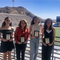 Kira Nakajima from Zach White Elementary, Maddie Jane Pelfrey from Morehead Middle,  Mackenzie Tovar from El Paso High and EPISD Director of Athletics Maria Kennedy