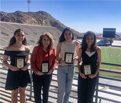 Kira Nakajima from Zach White Elementary, EPISD Director of Athletics Maria Kennedy, El Paso High swimmer Mackenzie Tovar and Maddie Jane Pelfrey from Morehead Middle were honored recently for their contributions to athletics in El Paso.