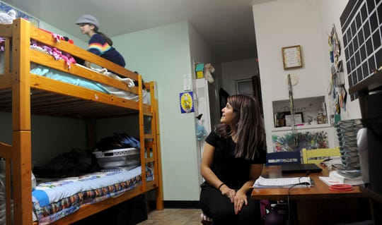 Jessica Quiroz sleeps in bunk beds with her 7-year-old daughter, Cadence. They have lived at the City Center shelter in Ventura for the past two years.