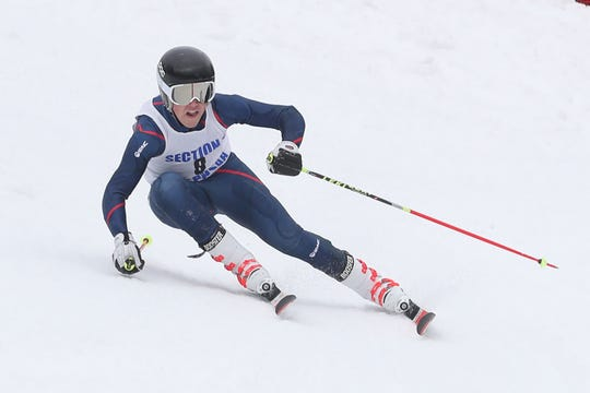 Mamaroneck's Robbie Lundberg competing in the Section 1 skiing championships at Hunter Mountain Feb. 10, 2020.