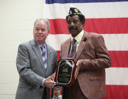 Rockland County Executive Ed Day, left, presents retired U.S. Army Command Sgt. Major Kenneth Nurse, 70, of Spring Valley with the plaque for the 2020 Rockland County Buffalo Soldier Award during a ceremony at the Rockland County Fire Training Center in Pomona on Tuesday, February 11, 2020.