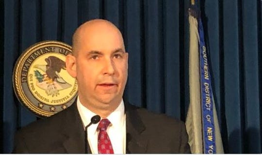 William Sweeney Jr., assistant director-in-charge of the FBI in New York, discusses the allegations against Lawrence Ray, accused of sex trafficking and extortion of Sarah Lawrence College students, Feb. 11, 2020.
