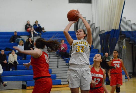 Panas junior Erijona Rraci goes up for an easy basket in the first half of the Panthers' 49-48 win over Somers on Feb. 10, 2020 at Walter Panas High School.