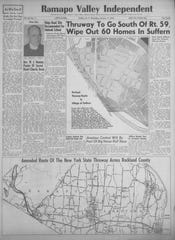 The front page of the January 17, 1952, edition of the Ramapo Valley Independent reported on the upheaval that could accompany the Thruway expansion.
