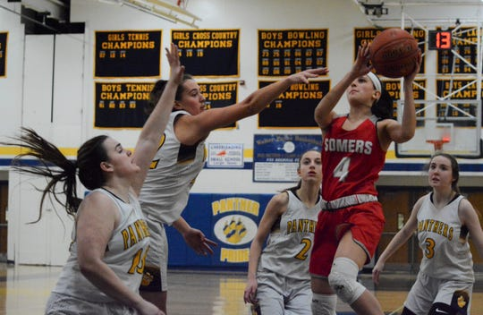 Somers guard Dani DiCintio pulls up in the lane during the fourth quarter of a loss to Panas on Feb. 10, 2020.