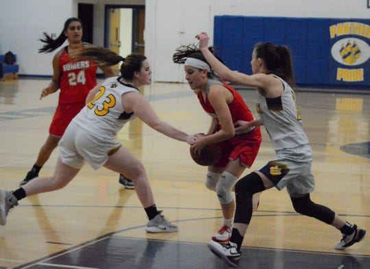 Panas' Kristen Scrobola gets a hand on the ball to stop Somers' Dani DinCintio from getting to the rim in the fourth quarter on Feb. 10, 2020. The Panthers only gave up one field goal in the fourth quarter of the League II-C win.