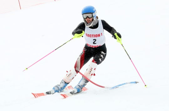 John Jay/North Salem's Samantha Spieler on her way to winning the Girls Skimeister during Section 1 skiing championships at Hunter Mountain Feb. 10, 2020.