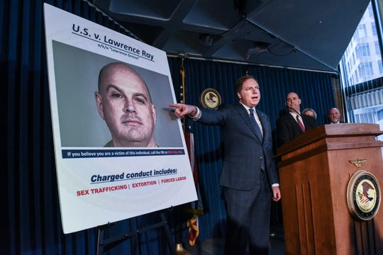 """United States Attorney for the Southern District of New York, Geoffrey Berman announces the indictment against Lawrence Ray aka """"Lawrence Grecco"""" on February 11, 2020 in New York City."""