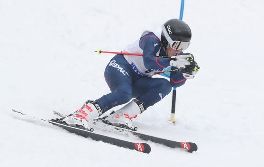 Mamaroneck's Robby Lundberg competes in the Section 1 Skiing Championships at Hunter Mountain Feb. 10, 2020.