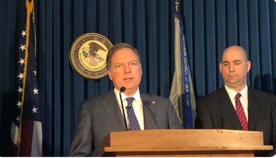 Geoffrey Berman, U.S. attorney for the Southern District of New York, left, describes the allegations against Lawrence Ray, accused of sex trafficking and extortion of Sarah Lawrence College students, Feb. 11, 2020.