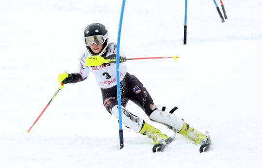Horace Greeley's Sam Burton leans into a turn while navigating a gate during the Section 1 Skiing Championships at Hunter Mountain, Feb. 10, 2020. Burton, who won the girls section slalom championship, later finished second in slalom at the State Skiing Championships. She was named Journal News/lohud Westchester/Putnam girls skier of the year for a third consecutive year.