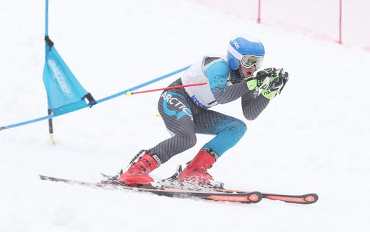 Nyack's Max Longhi heads for the finish during the Section 1 Skiing Championships Feb. 10, 2020 at Hunter Mountain. The junior, who skis as an independent and trains with Clarkstown since his high school doesn't have a ski team, finished fourth out of 60 skiers for the Section 1 boys skimeister (fastest combined times of two slalom and two giant slalom runs) title. He is The Journal News/lohud Rockland boys skier of the year for a third straight year.