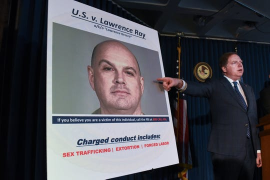 """U.S. Attorney for the Southern District of New York Geoffrey Berman announces the indictment against Lawrence Ray aka """"Lawrence Grecco"""" on Feb. 11, 2020, in New York City. Lawrence Ray aka """"Lawrence Grecco"""" has been charged with several crimes including sex trafficking, extortion and forced labor of college-age people."""