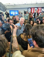 Joe Biden greets voters after a rally in North Liberty, Iowa on Feb. 1.