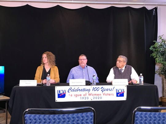 Carolynn Peterson Martin (left), Dean Veneman (middle) and Vernon Verjinsky (right) participate in a voter forum held by League of Women Voters of the Wisconsin Rapids Area Jan. 30, 2020.