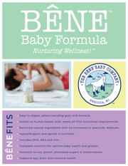 Bene Baby Formula lists the benefits of its product.