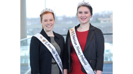Mary Reisinger, left, of Texas, and Sydnie Paulsrud of Wisconsin will spend the next year promoting the beekeeping industry throughout the United States in a wide variety of venues, including fairs, festivals, schools, and media interviews.